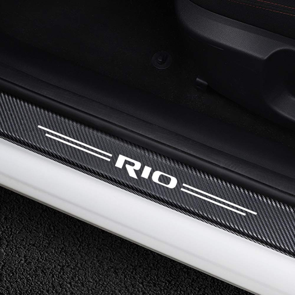 para Kia Rio 3 4 K2 K3 X Line Dmwfaker 4PCS Etiquetas engomadas del Coche Protector del umbral de la Puerta Placa de Desgaste del alf/éizar de la Puerta Cubierta del Pedal Accesorios de autom/óviles