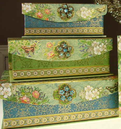 (Punch Studio Turquoise Peacock Brooch Trinket Box, Graduated Set of 3 Embellished Decorator Small Storage/Jewelry Boxes)