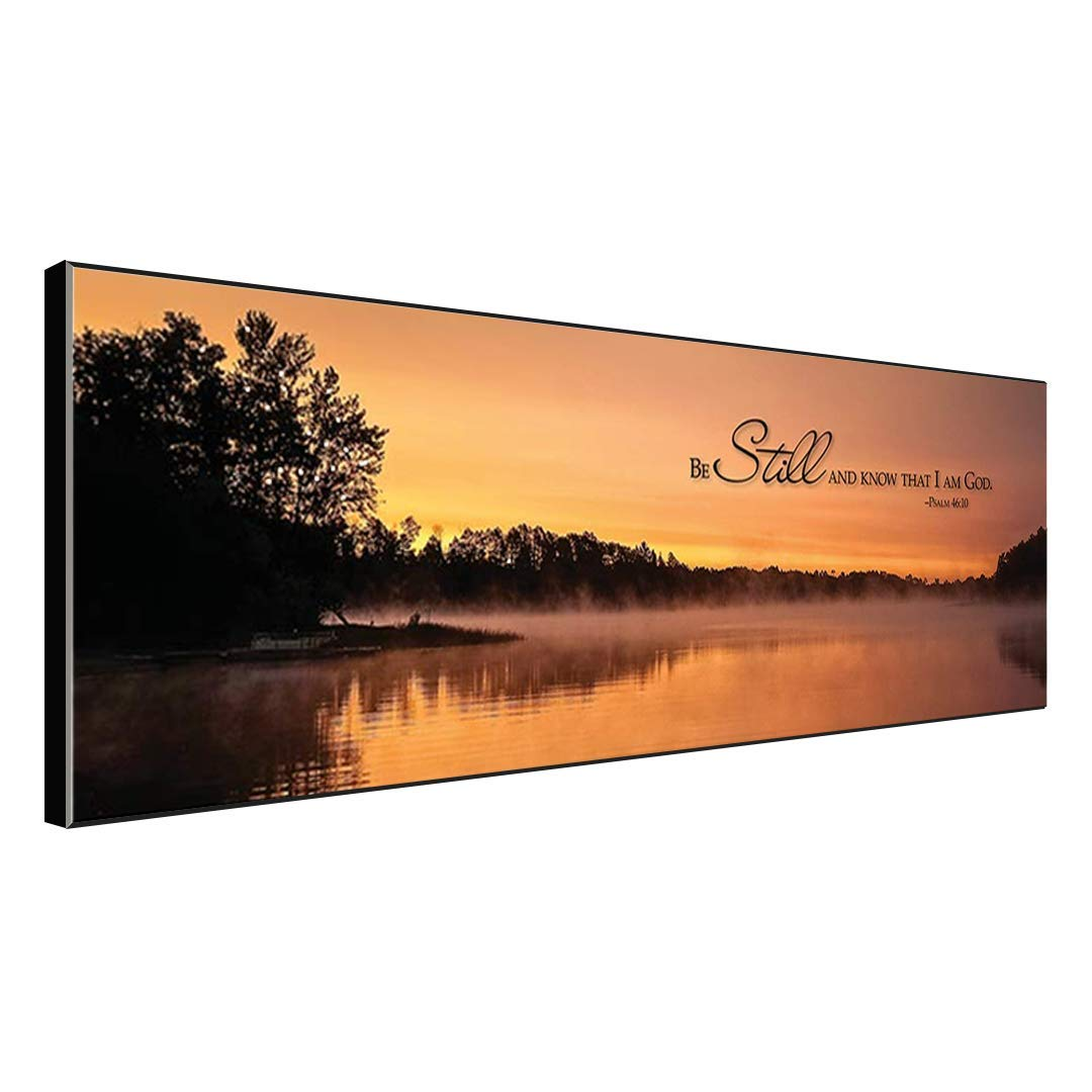 Christian Wood Wall Art Décor - Be Still and Know That I Am God - 18 x 6 Wooden Hanging Sign with Bible Scripture Saying on Mesmerizing Sunset Lake Background (18 x 6, Pine)