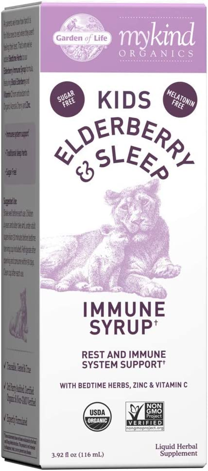 Garden of Life Elderberry Immune Support for Kids with Zinc, Vitamin C - mykind Organics Kids Elderberry & Sleep Immune Syrup Liquid, Bedtime Herbs for Children, No Alcohol, No Added Sugar, 3.92 fl oz