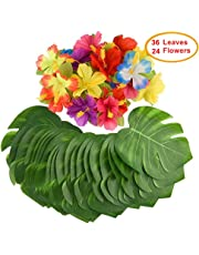 """Mandy's 60PCS party supplies 8"""" palm leaves and Hibiscus Flowers for Hawaiian Luau Party Jungle Beach Decorations"""