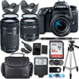 Canon EOS 77D DSLR Camera with Canon 18-55mm & 55-250mm Lens + Deluxe Accessory Bundle including Gadget Case, 32GB Memory, Tripod & More