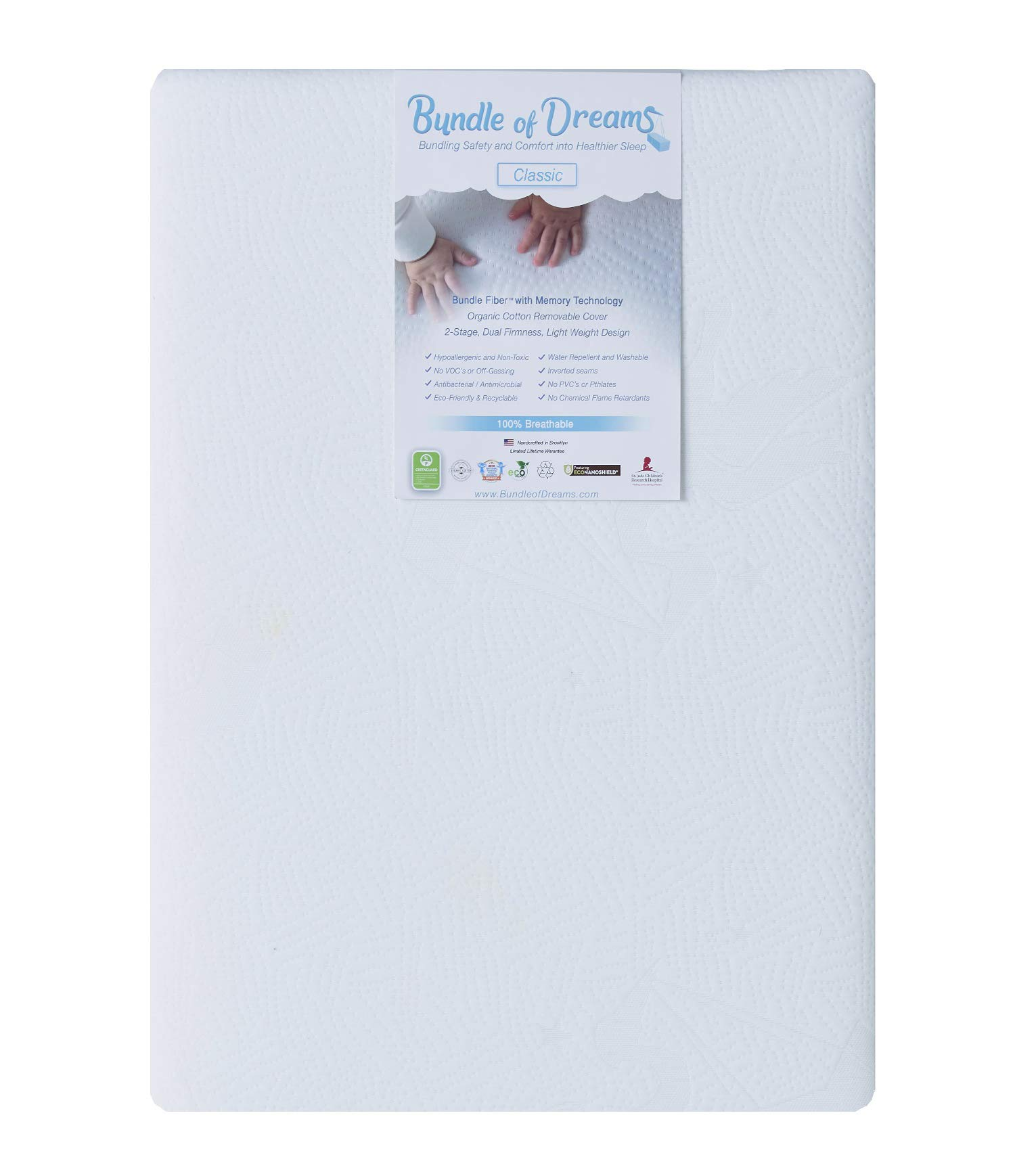 Bundle of Dreams Flagship 5'' 2 Stage Mini Crib Mattress, Organic, Breathable, Hypoallergenic, for Portable Cribs