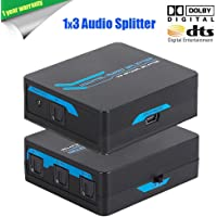 Links TOSLINK Digital Optical Audio Splitter 1x3 One Input to Three Outputs (1X3 Audio Splitter)-Black