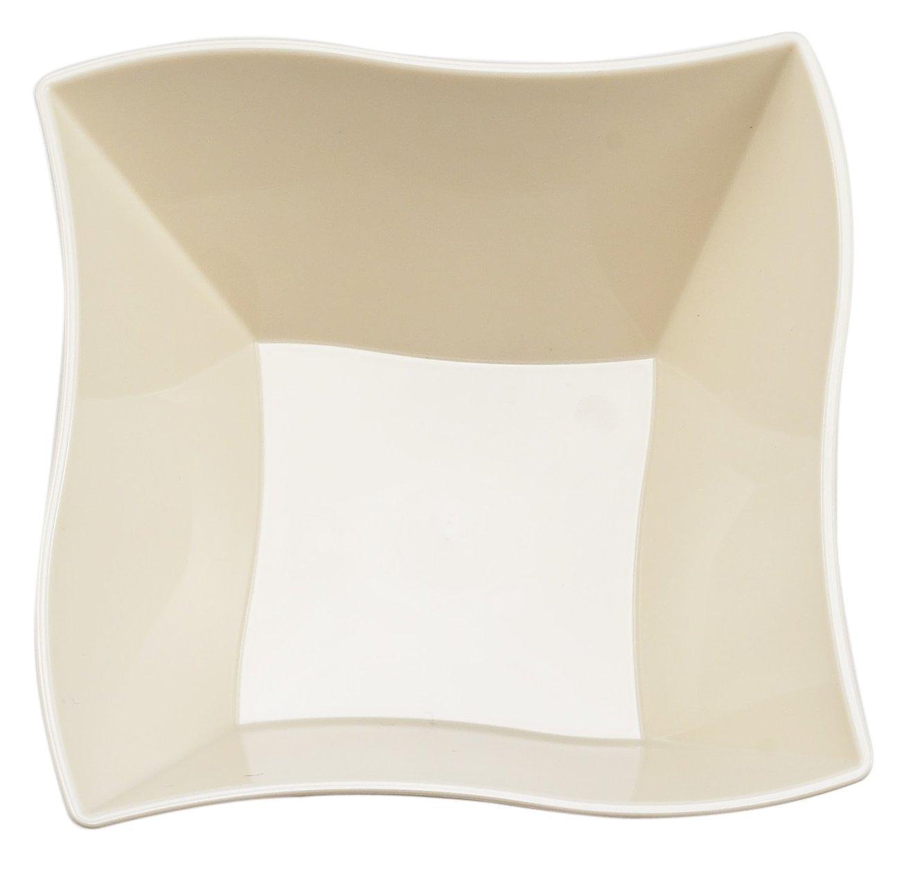 Kaya Collection - Disposable Bone Plastic Wave 14oz Soup/Condiment Bowls - 2 Pack (20 Bowls)
