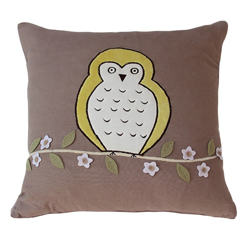 Vivai Home Taupe Floral Bird Hoot Hoot Square 16x 16 Feather Cotton Pillow