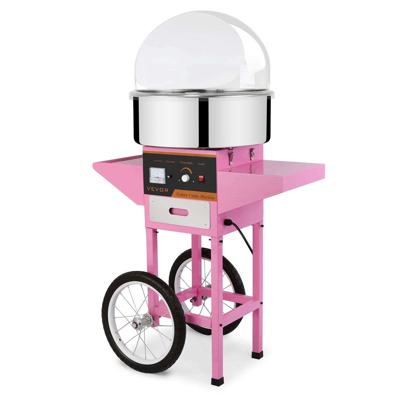 Mophorn Electric Cotton Candy Machine with Bubble Shield and Cart Commercial Cotton Candy Machine Kit 110V Perfect for Various Parties (Cotton Candy Machine with Bubble Shield and Cart)