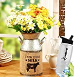 HomeCricket Gift Included- Decorative Country Farmhouse Galvanized Flower Milk Can Vase + FREE Bonus Water Bottle by