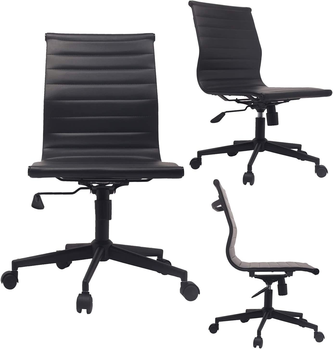 2xhome Modern Mid Back Office Chair Armless Ribbed PU Leather Swivel Tilt Adjustable Chair Designer Boss Executive Management Manager Office Conference Room Work Task Computer (All Black)