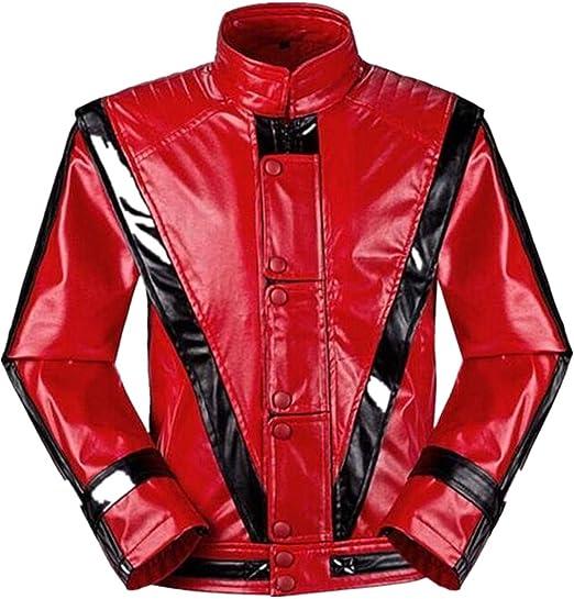 Unisex Thriller Beat it Rojo Chaquetas of Michael Jackson Abrigo Disfraz de Cosplay (Enviar Guantes)