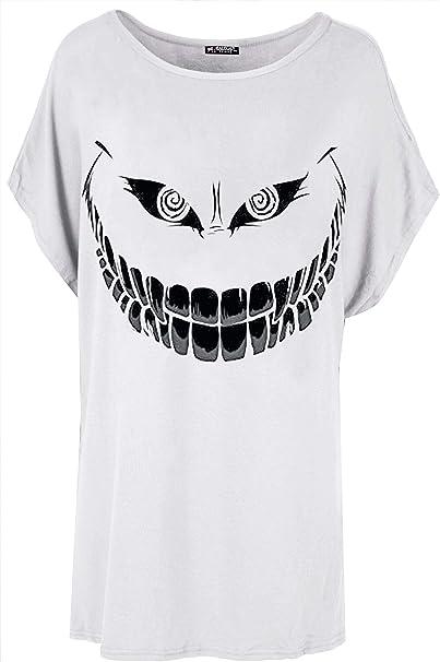 Ladies Batwing Halloween Lagenlook Skeleton Heart Womens Oversized T-Shirt Top