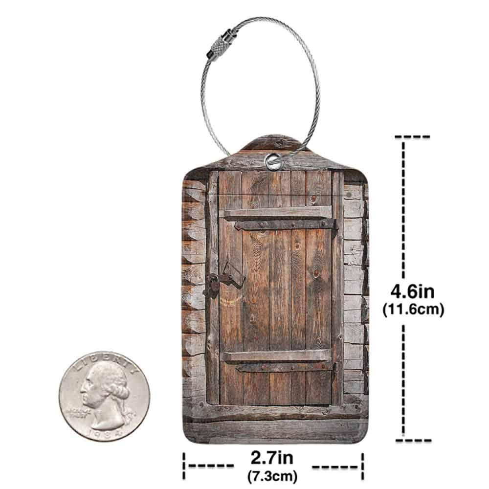 Personalized luggage tag Vintage Rustic Wooden Door of Old Barn in Farmhouse Countryside Village Aged Rural Life Image Easy to carry Brown W2.7 x L4.6