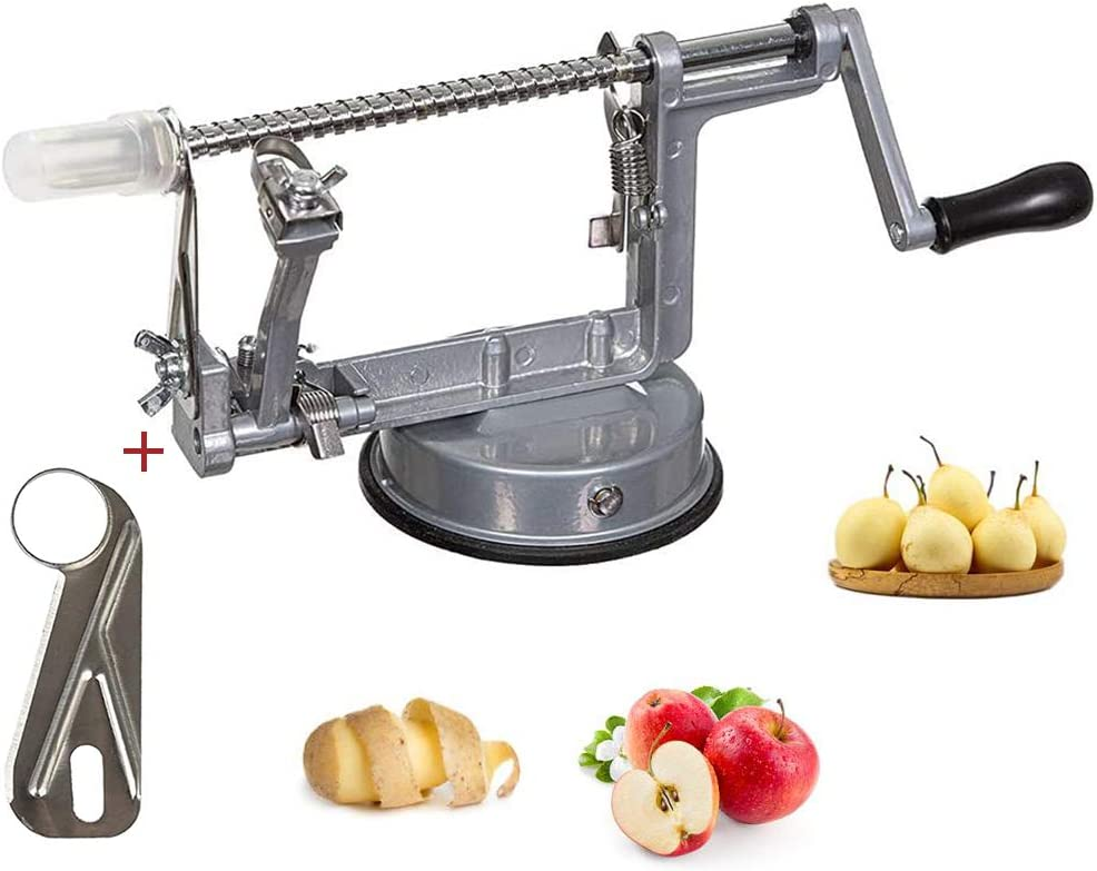 Apple Peelers, 3-in-1 Stainless Steel Durable Corer Peeler with Suction Cup, Kitchen Apple Peeler for Apple/Pear/Potato Peeling Tools to Make Apple Pie/Potato Sauce(Silver)