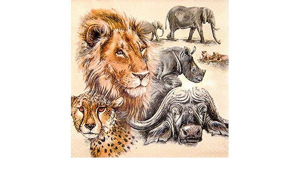 5 servilletas África sergenti elefantes buitres jirafas serviettentechnik animales