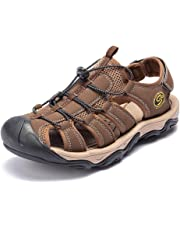 GOMNEAR Outdoor Hiking Sandals for Men Closed Toe Trail Athletic Climbing Summer Fisherman Leather Beach Shoes Slippers Sliders