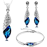 Valentine Gift By Shining Diva Italian Designer Non Precious Metal Jewellery Set for Women (Blue) (rrsdcmb208)