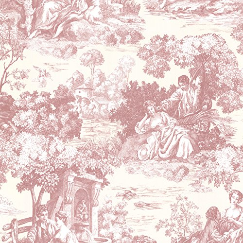 Beacon House 2668-21511 Isabella Toile Wallpaper, Rose (Wallpaper Toile Vintage)