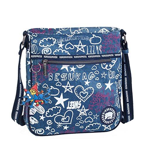 KUKUXUMUSU - 93725 Bolso de mujer bandolera ajustable. Cierre con cremallera. Bolsillos delante y detrás con cremallera. Casual. Lona, Color Azul Azul