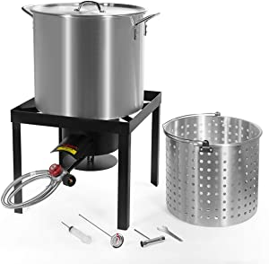 Barton 64 QT Aluminum Turkey Fryer Steamer Burner BBQ Fair Clam Bake Pot X-Large Capacity 100,000 High-Pressure Burner