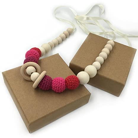 Coskiss Rojo Collares de ganchillo Collar de dientes de bebé Collar de dentición seguro con juguete de madera natural orgánica Mamá Collar de dientes ...