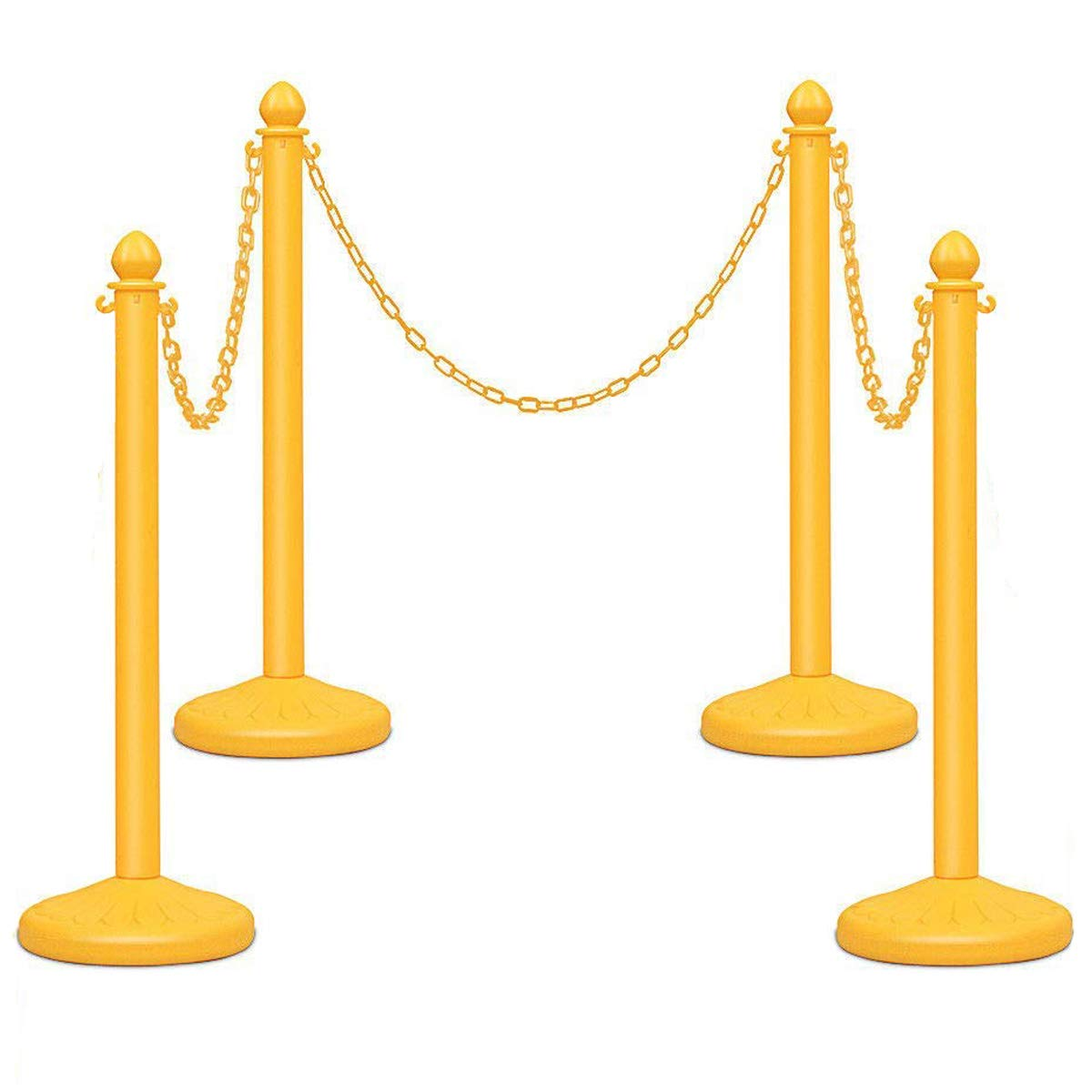 Reliancer 4 Pack Plastic Stanchions set w/3PCS 40'' Link Chain Sentry Stanchion Kit w/ Fillable Base Crowd Control Safety Stanchion Barriers Easy Connect Assembly Outdoor and Indoor Posts Queue Barrier