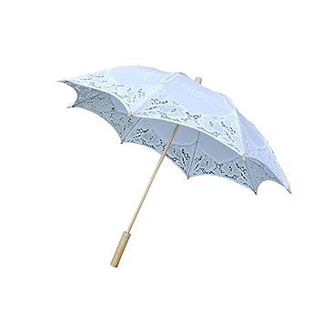 BESTOYARD Sombrilla de Estilo Elegante de Boda Paraguas de Encaje con Mango de Bambú Decoración de