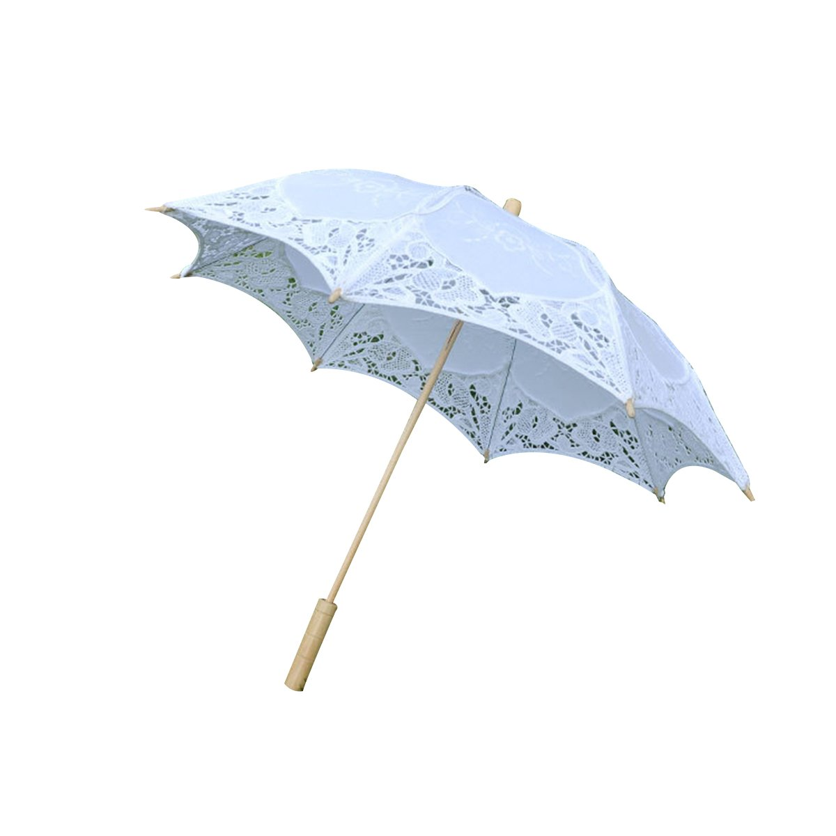 BESTOYARD Bridal Wedding Umbrella Lace Cotton Embroidery Handmade Parasol Umbrella for Wedding (White)