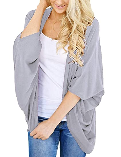 Lightweight Summer Cardigan For Women 3/4 Sleeve Solid Color Kimono Cover Up Top by Bb&Kk