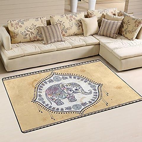 Yochoice Non-slip Area Rugs Home Decor, Retro Indian Elephant Tribal Mandala Floor Mat Living Room Bedroom Carpets Doormats 60 x 39 (Elephant Floor Rug)