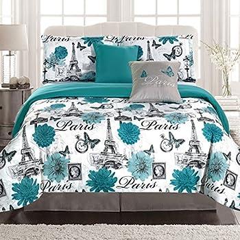 paris bedding twin comforter 4 piece bed set eiffel tower teal blue flower home. Black Bedroom Furniture Sets. Home Design Ideas