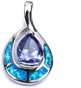 Free 18 Chain 925 Sterling Silver Heart Pendant /& Earrings Set Trillion Tanzanite Blue Inlay Fire Opal