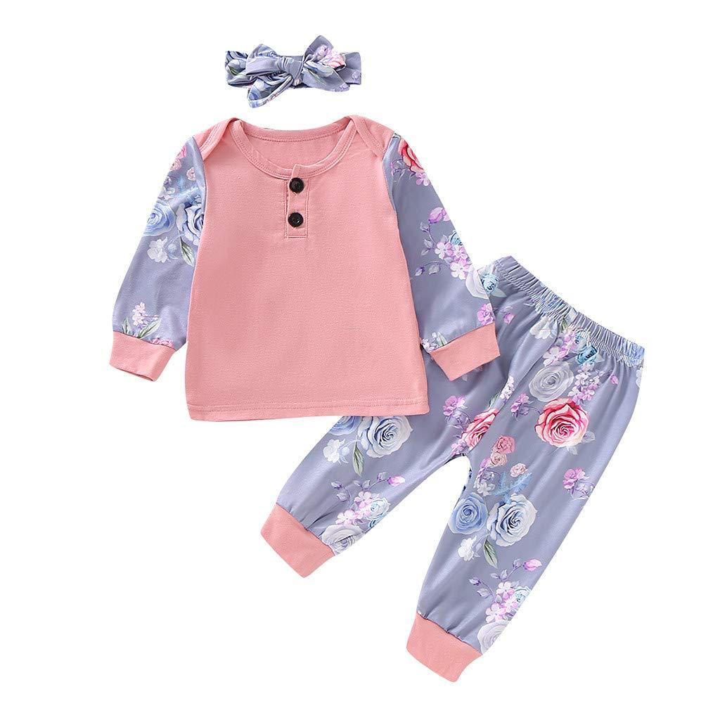 Sameno Newborn Infant Baby Girl Winter Snowsuit Floral Romper T-Shirt Tops Cartoon Pants Headband Outfit Set 0-18 M Gift