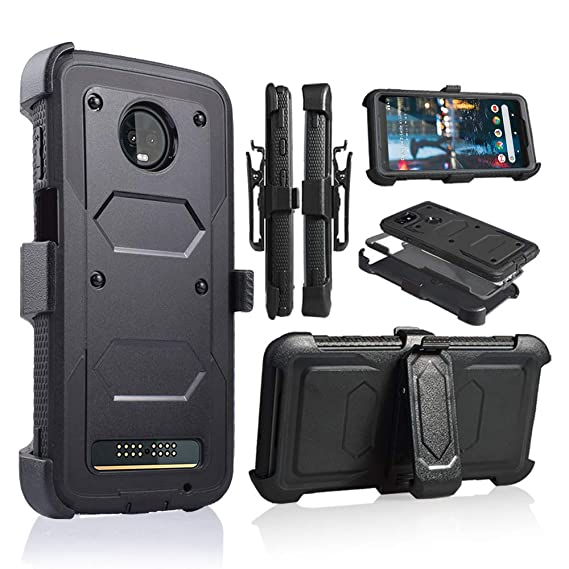 best website 2d31e 1ebc6 Moto Z3 Play Case, Moto Z3 Case, Heavy Duty Armor Shockproof Protection  Case Cover with Belt Swivel Clip Kickstand Motorola Moto Z3 Play (Black)