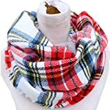 Epic Brand Infinity Scarf Collection for Men and Women | Comfortable Plaid Tartan Cashmere Blanket Circle Winter Scarves (Plaid White/Red)