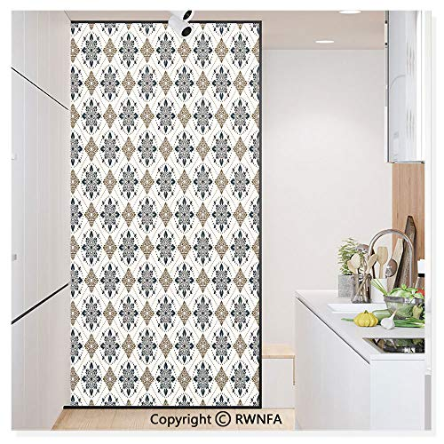 Decorative Privacy Window Film Retro Boho Welsh Pears with Persian Pickles Motif Artsy Home Decor No-Glue Self Static Cling for Home Bedroom Bathroom Kitchen Office,Brown Blue