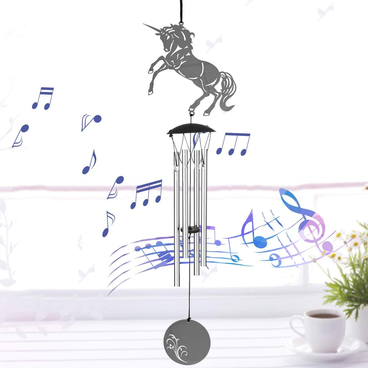 JOXJOZ 4 Aluminum Tuned Tubes Metal Wind Chimes Outdoor Indoor, Metal Wind Bell Chimes for Garden Patio Yard Decor-Wind Chime Wall Hanging for Home Decoration or Birthday Party Gift (Unicorn)
