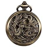 WENSHIDA Antique Pocket Watch Dragon & Phoenix Pattern with ChainMens Mechanical Bronze + Gift Box