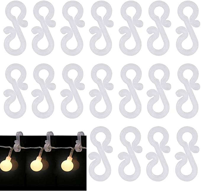 Aissy 100pcs Mini Plastic Waterproof Gutter Light Clips for Christmas Birthday Wedding Anniversary Party Decoration Gutter Hooks