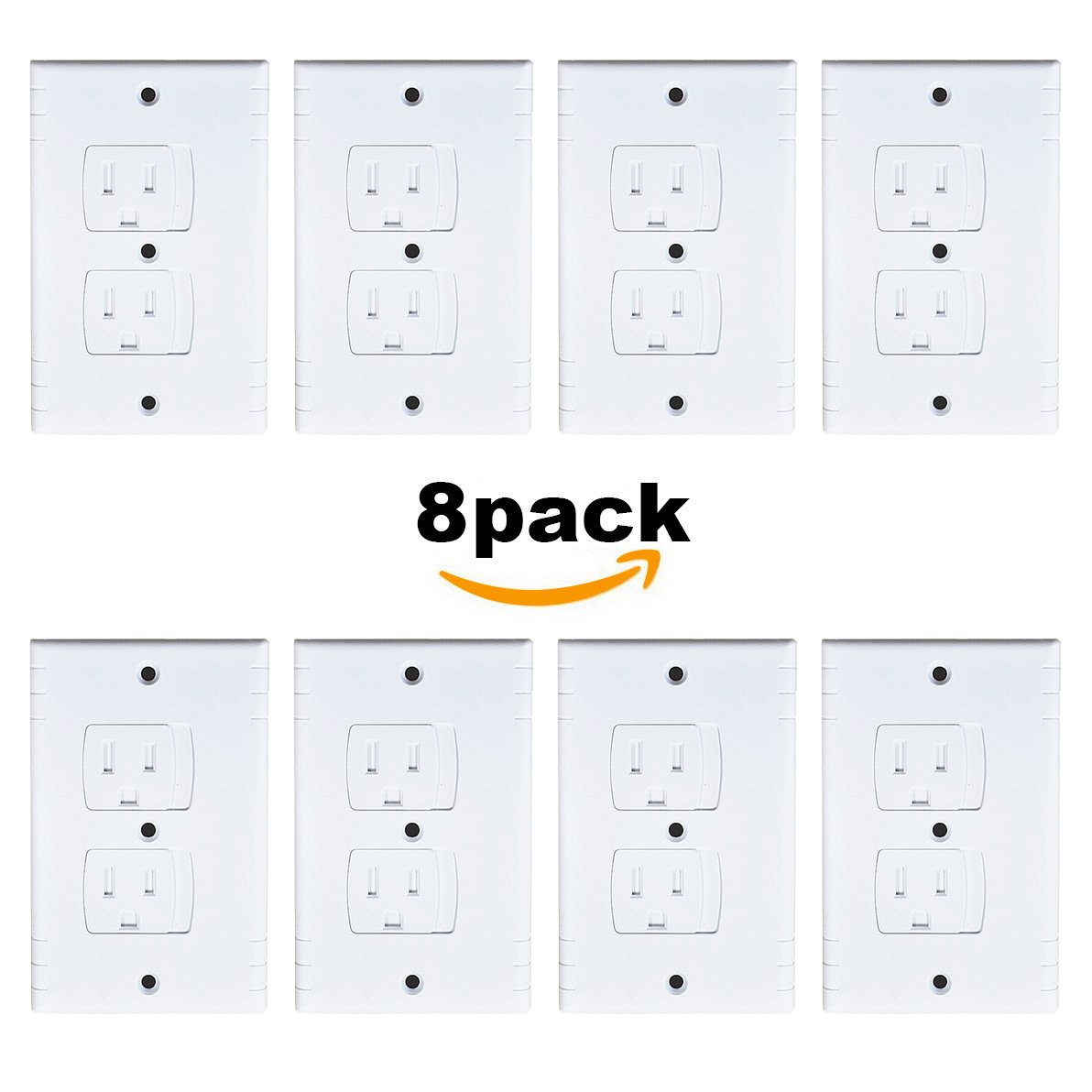 Baby Outlet Covers, Universal Self-Closing Electrical Outlet Cover, Extra Safe Child Safety Guards Wall Socket Plug, Flame Retardant ABS, BPA-Free, Best House Protection Hardware Included (6 Pack) ModaBebis