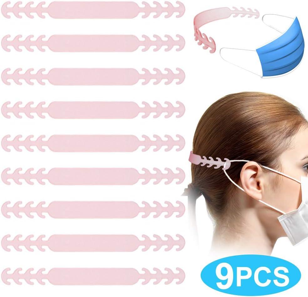 Wei/ß 4-Gang Verstellbarer Verl/ängerungsriemen zur Verringerung von Ohrenschmerzen f/ür Gesichtsschutz von Erwachsene Kinder 9 St/ücke Verl/ängerungsriemen Anti-Rutsch-Masken Ohrband