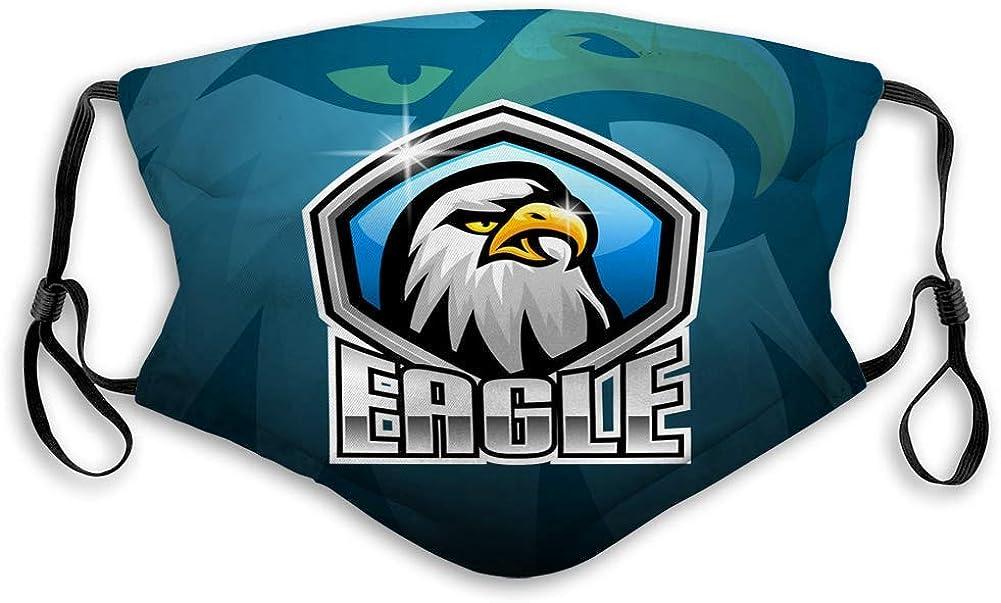 Mascarilla facial para hombres y mujeres, niños y niñas eagle esport diseño de logotipo de mascota cubiertas ajustables