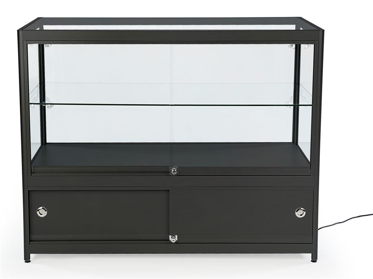Displays2go 48'' Retail Showcase, w/Storage, LED Lights, Lockable Sliding Door - Black (SCTCT48LDB) by Displays2go (Image #3)
