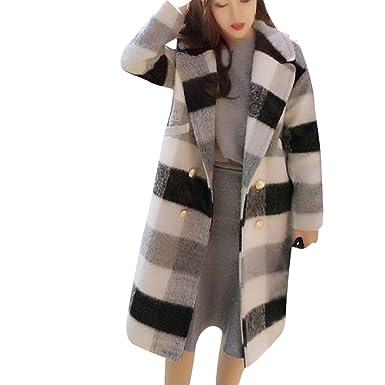 05ab4e52c8 Reokoou Women's Long Sleeve Lapel Plaid Wool Nizi Long Jacket Tops Coat  Black