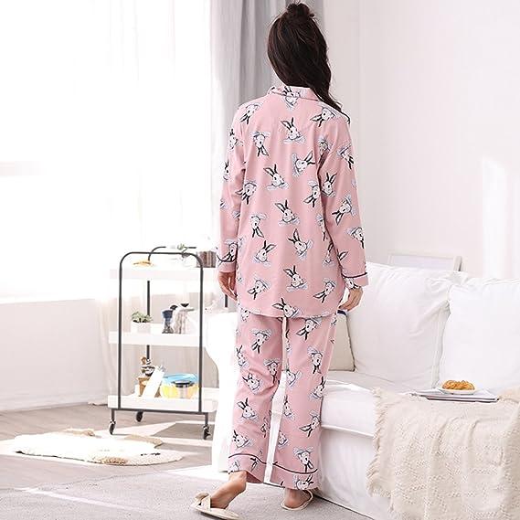 Pink Ladies Otoño y Invierno Algodón Ocio pijama chaqueta larga - Manga Cartoon Casa trajes: Amazon.es: Hogar