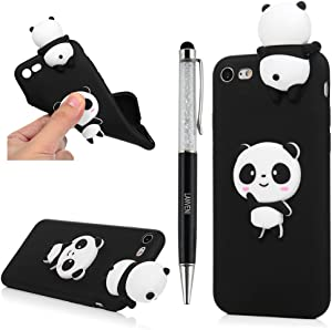 YOKIRIN iPhone 7 Case, iPhone 8 Case, 3D Handmade Cute Black Panda Jelly Soft TPU Silicone Rubber Slim Fit Shockproof Anti-Scratch Skin Protective Bumper Cover with Crystal Pen