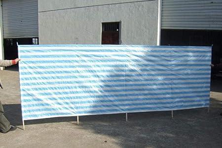 OWIME Windbreak Beach Holiday Camping Garden Wind Breaker Shelter Sun Screen-Blue+white