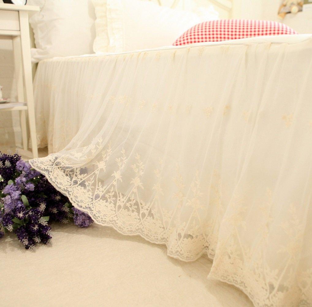 Brandream Twin Size Luxury White Lace Bed Skirt Romantic Girls Bed Sheets Elegant Teen Skirted Sheet