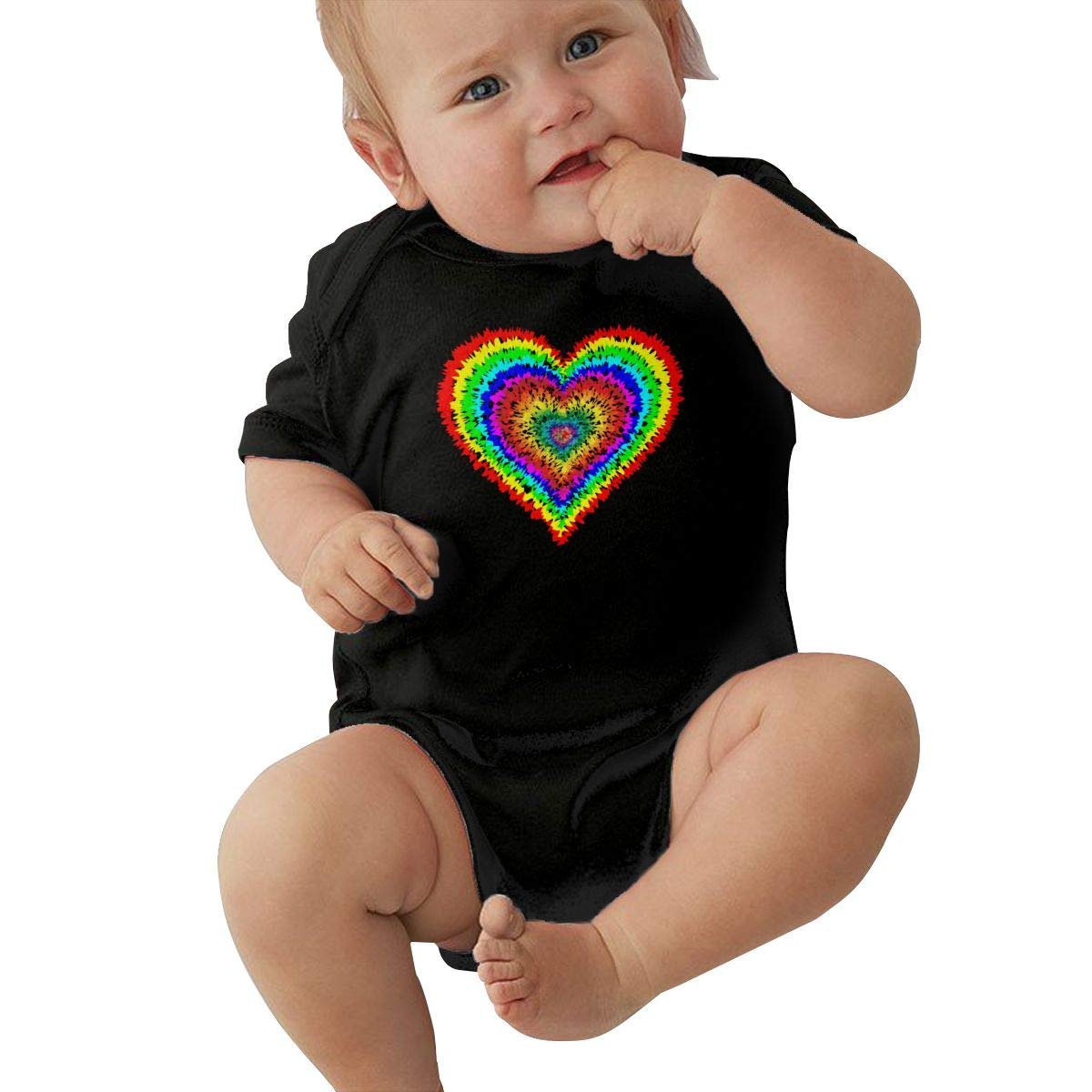 Cute Tye Dye Heart Sleepwear U88oi-8 Short Sleeve Cotton Bodysuit for Baby Girls Boys