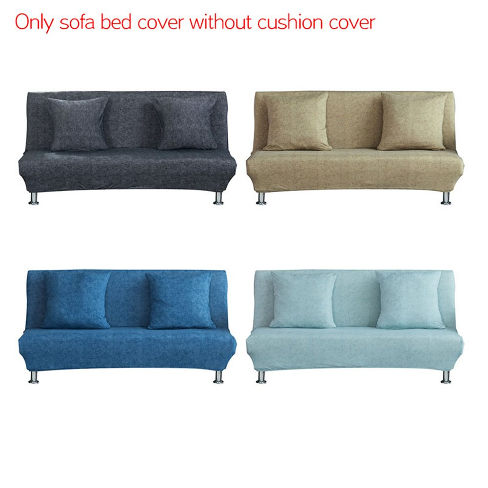 Sue Supply Elastic Cloth Solid Sofa Bed Cover Folding Armless Futon All-inclusive Cover Slipcover for Living Room Decor 4 Colors