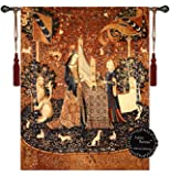 """[Free Shipping] Beautiful the Lady and the Unicorn-hearing Size 47""""x33.5"""" Fine Tapestry Jacquard Woven Wall Hanging Art Decor"""